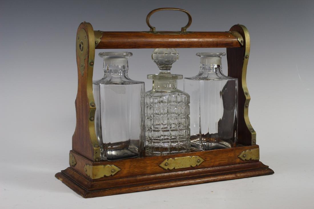 Oak Tantalus Decanter Bottle Set - 2