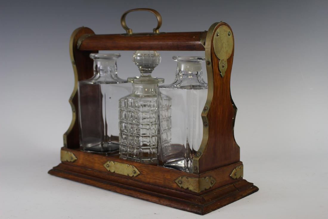 Oak Tantalus Decanter Bottle Set - 3