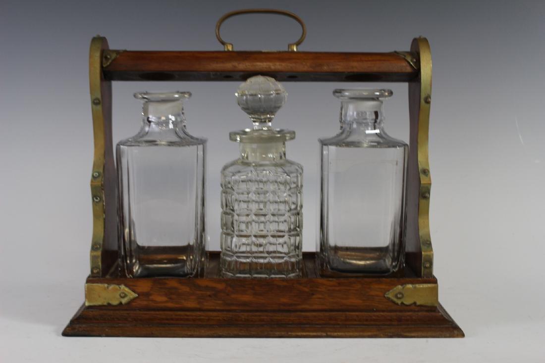 Oak Tantalus Decanter Bottle Set - 4