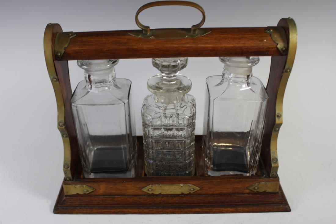 Oak Tantalus Decanter Bottle Set - 5