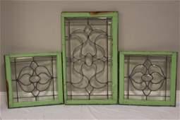 Set Of Three Beveled Glass Windows