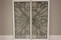 Set Of Leaded And Beveled Glass Windows