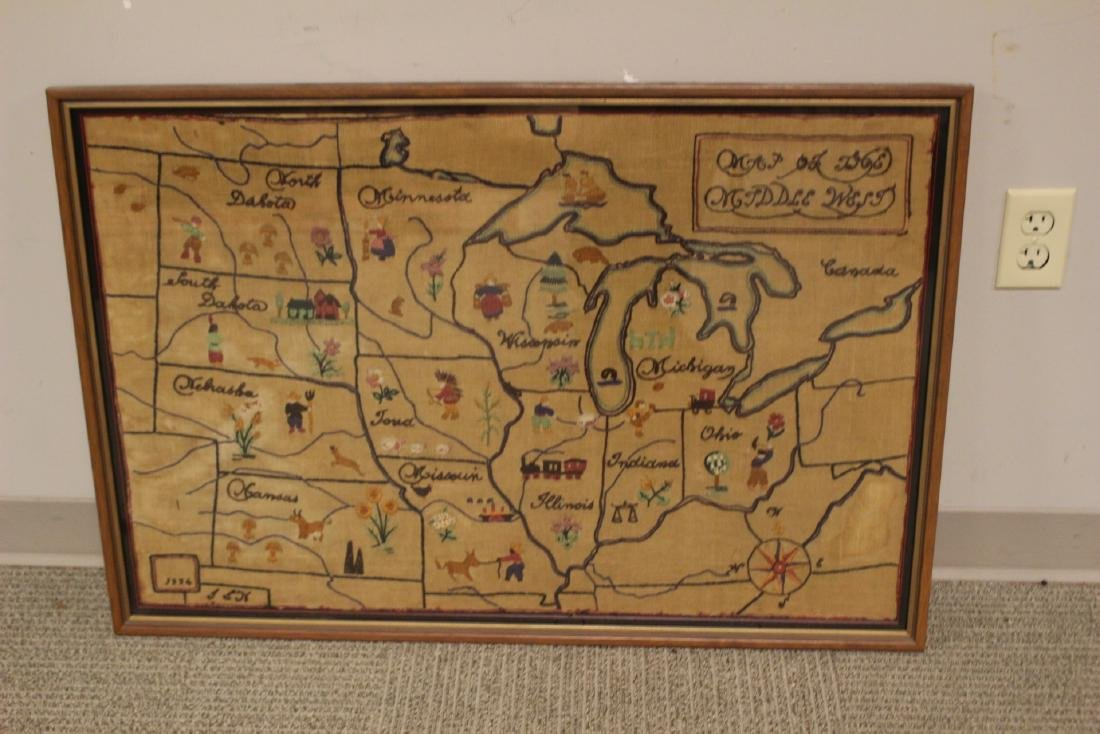 1934 Sampler  MAP of THE MIDDLE WEST - 10