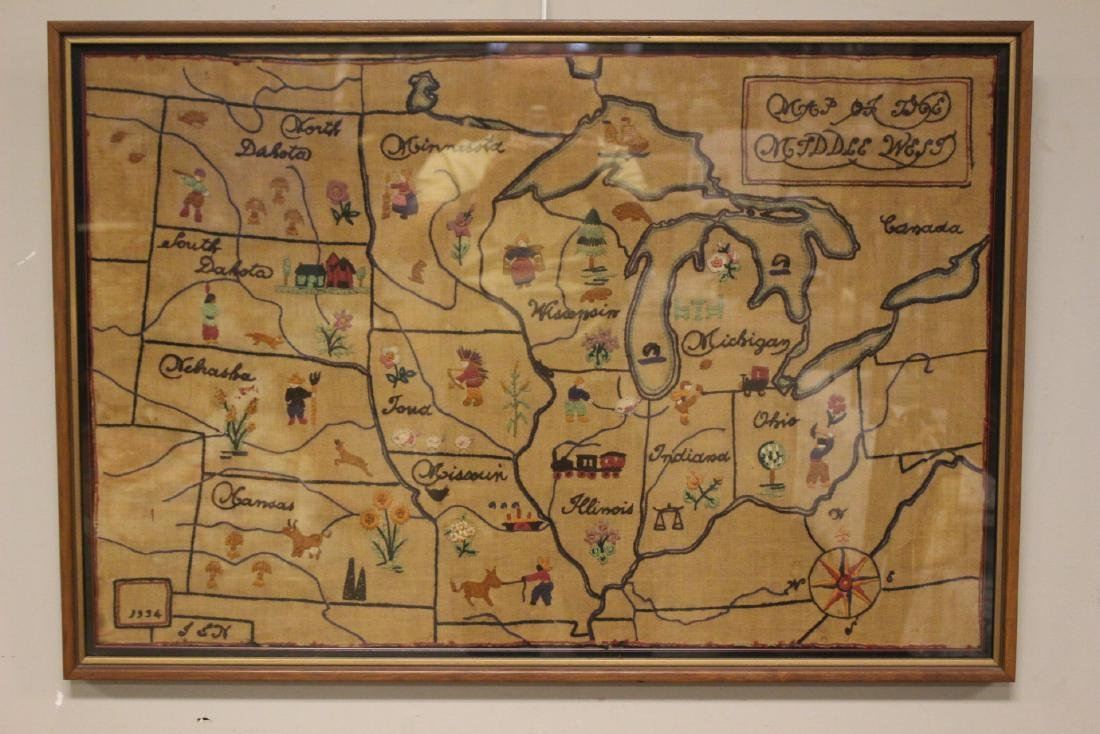 1934 Sampler  MAP of THE MIDDLE WEST