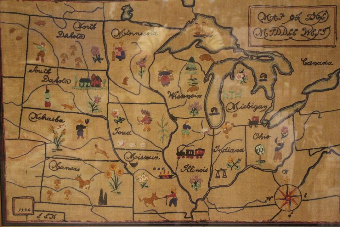 1934 Sampler  MAP of THE MIDDLE WEST - 2