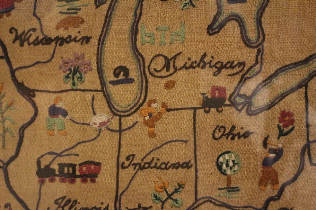 1934 Sampler  MAP of THE MIDDLE WEST - 4