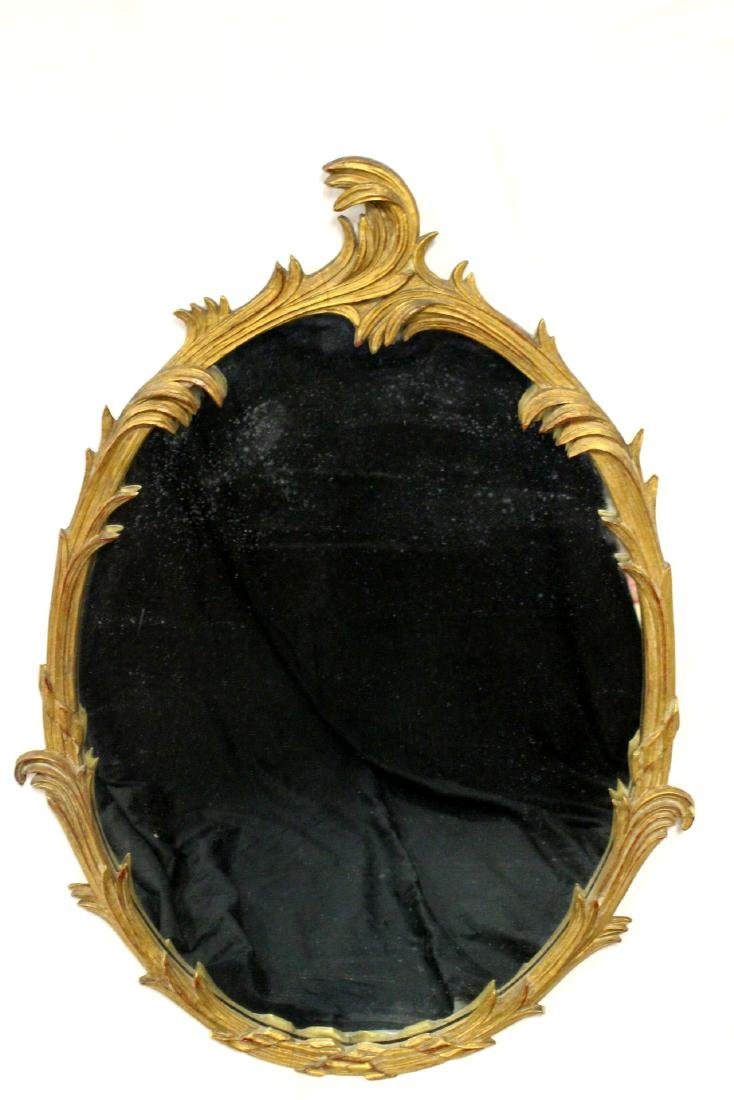 Gold Gilded French Oval Mirror