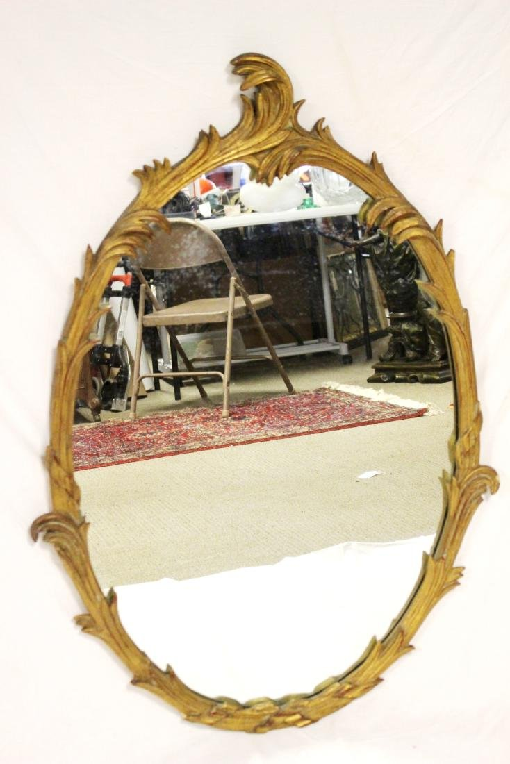 Gold Gilded French Oval Mirror - 2
