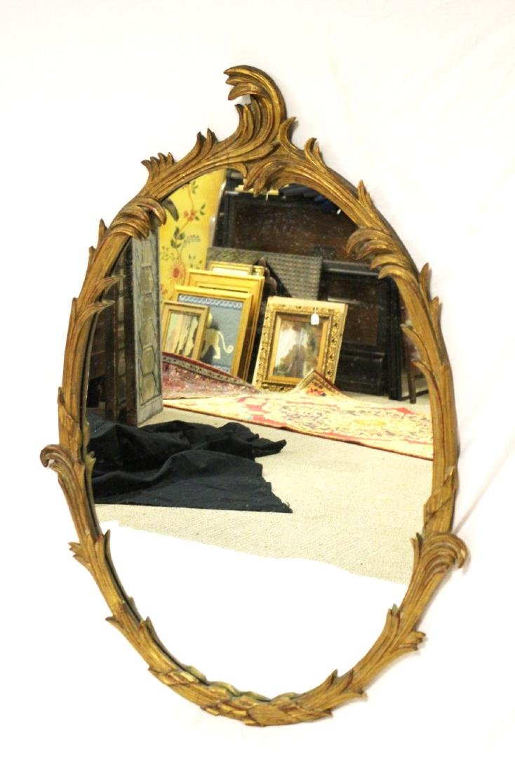 Gold Gilded French Oval Mirror - 3