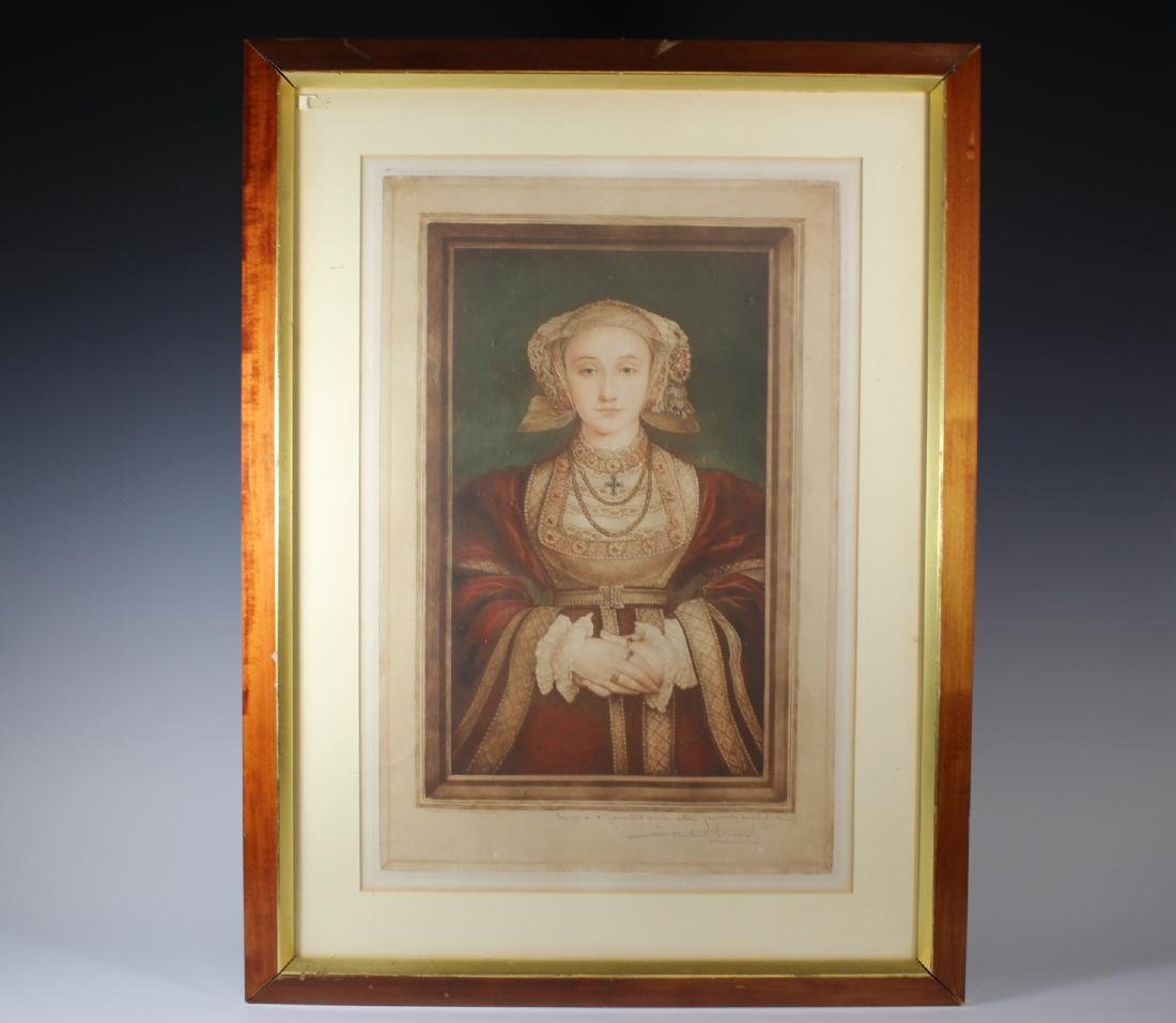 Hand Colored and Signed Engraving of Anne Cleves