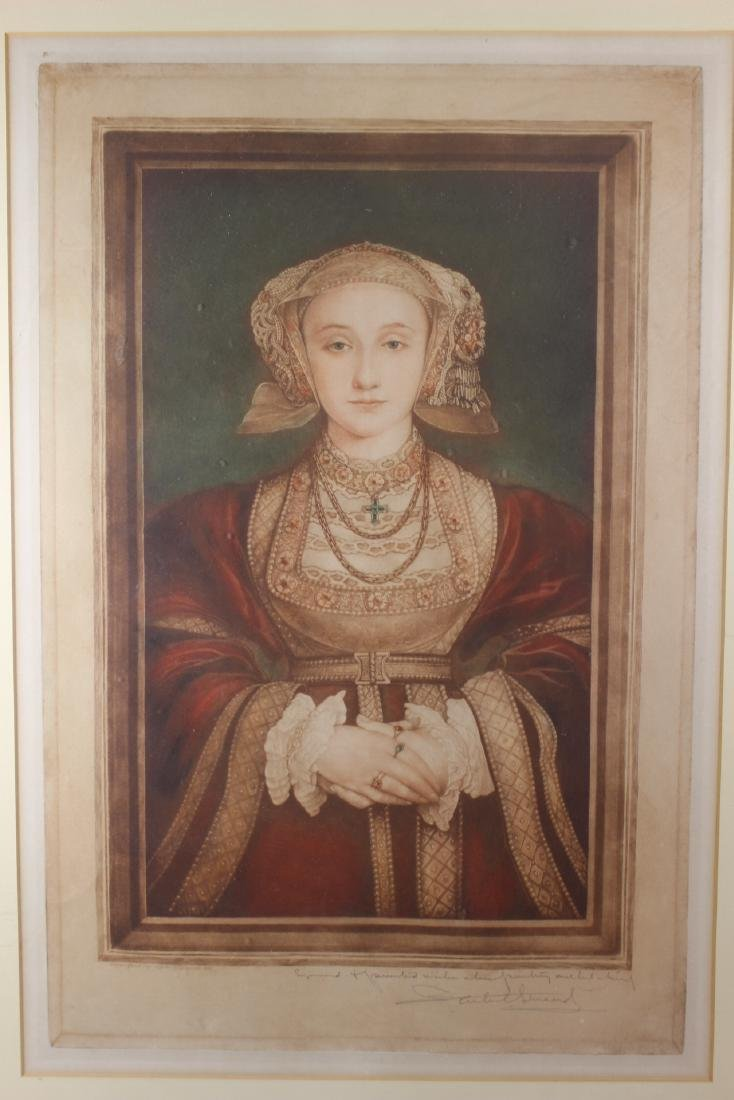 Hand Colored and Signed Engraving of Anne Cleves - 2