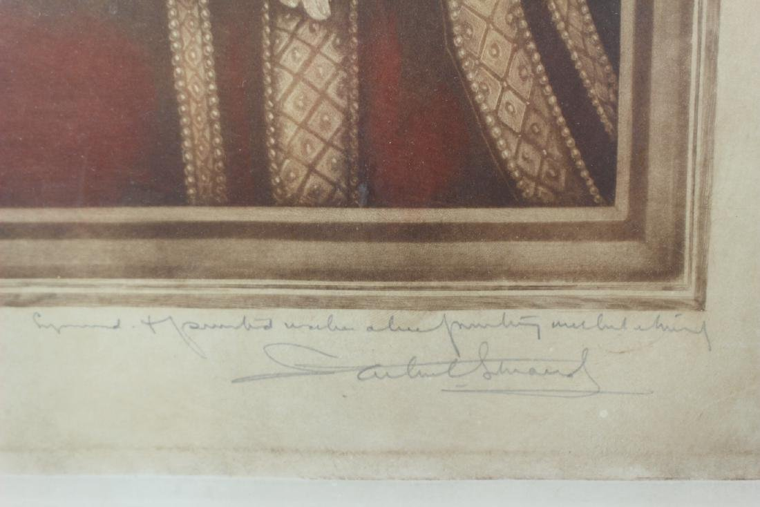 Hand Colored and Signed Engraving of Anne Cleves - 3
