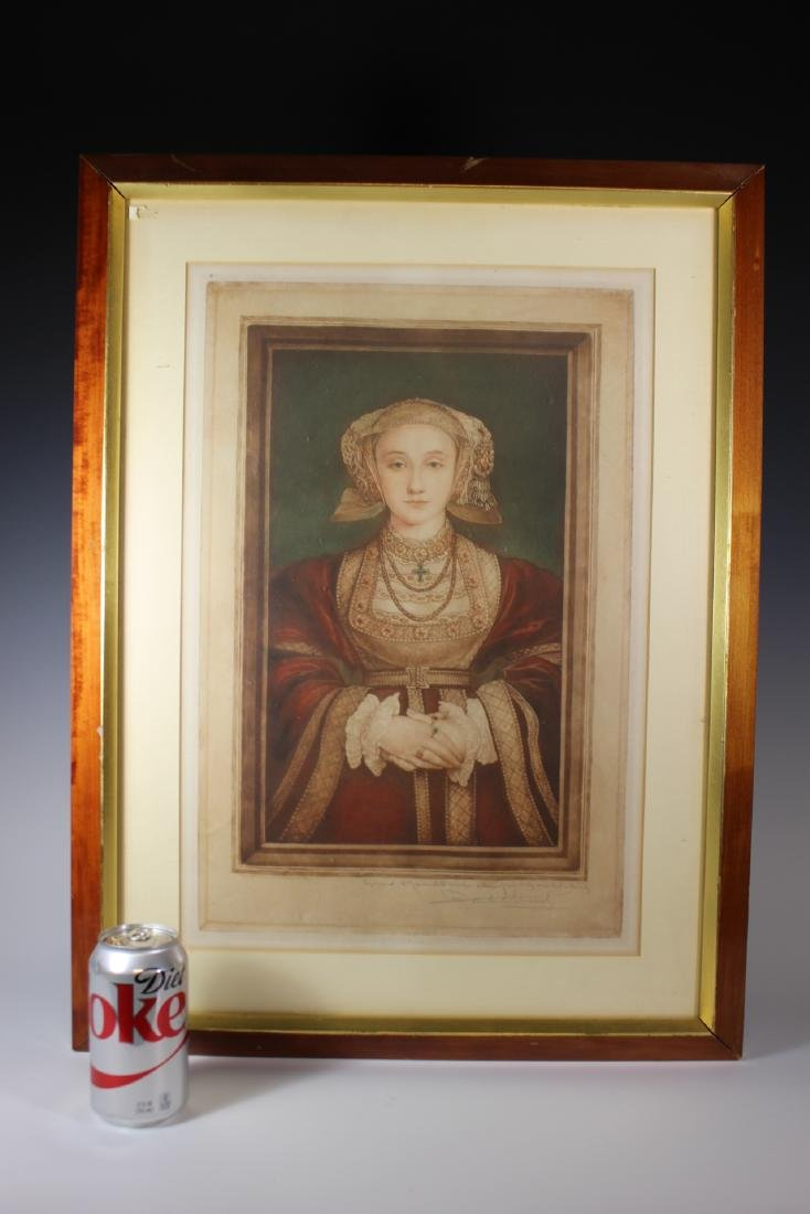 Hand Colored and Signed Engraving of Anne Cleves - 8