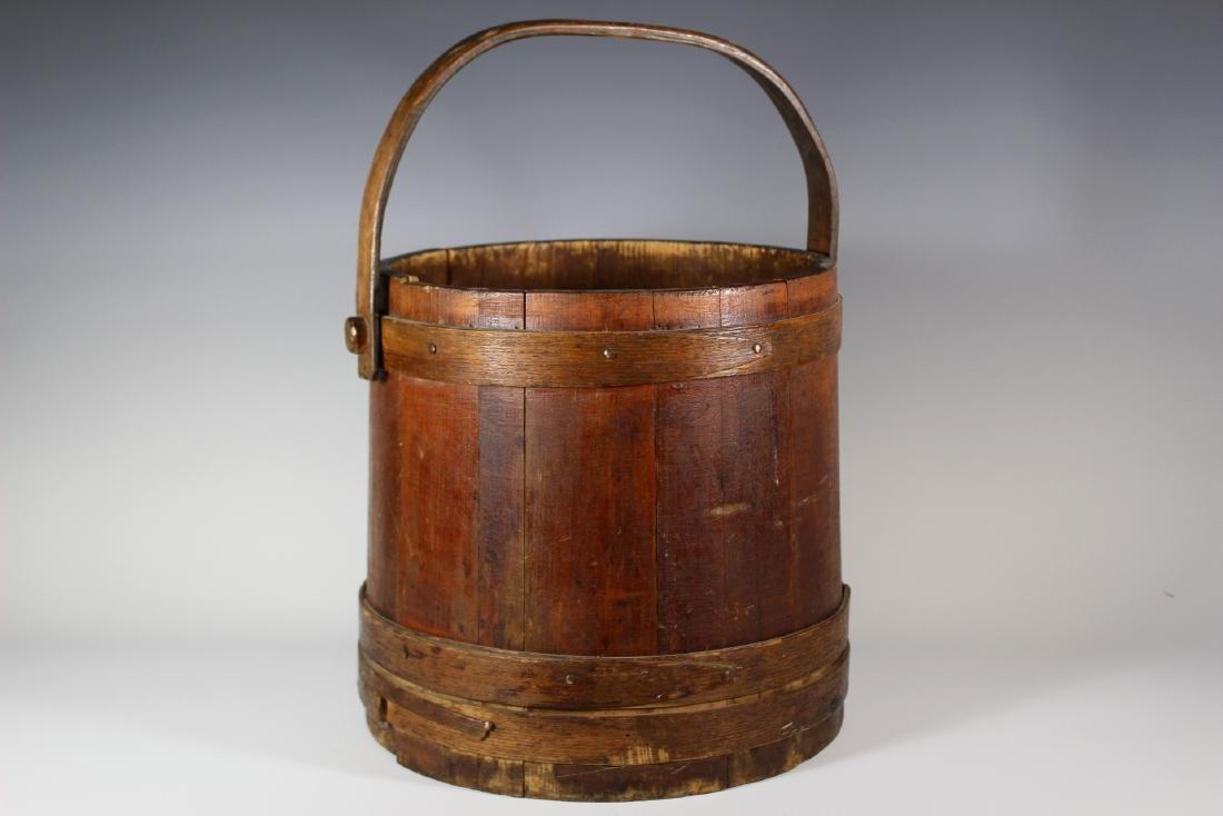 19th Century Wood Bucket with Bentwood Handle