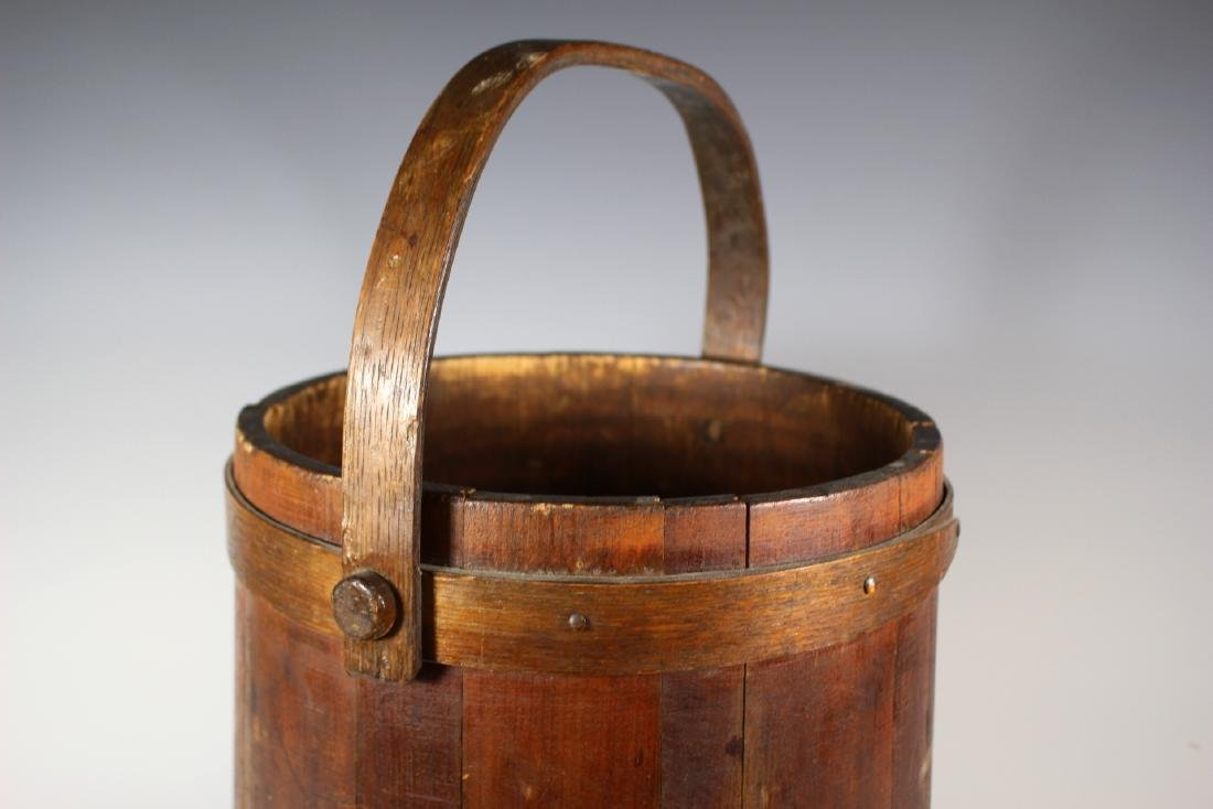 19th Century Wood Bucket with Bentwood Handle - 2