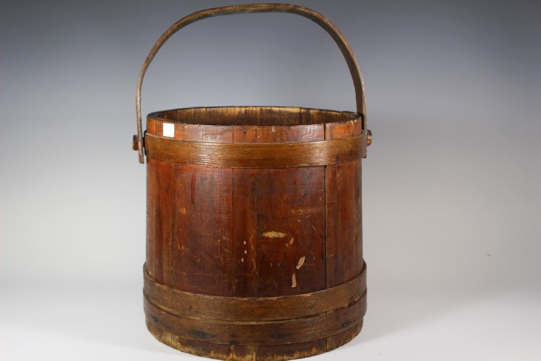 19th Century Wood Bucket with Bentwood Handle - 3