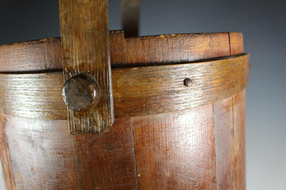 19th Century Wood Bucket with Bentwood Handle - 6