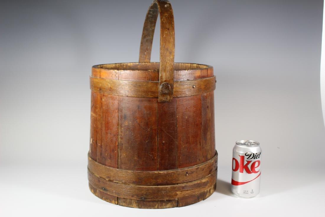 19th Century Wood Bucket with Bentwood Handle - 7
