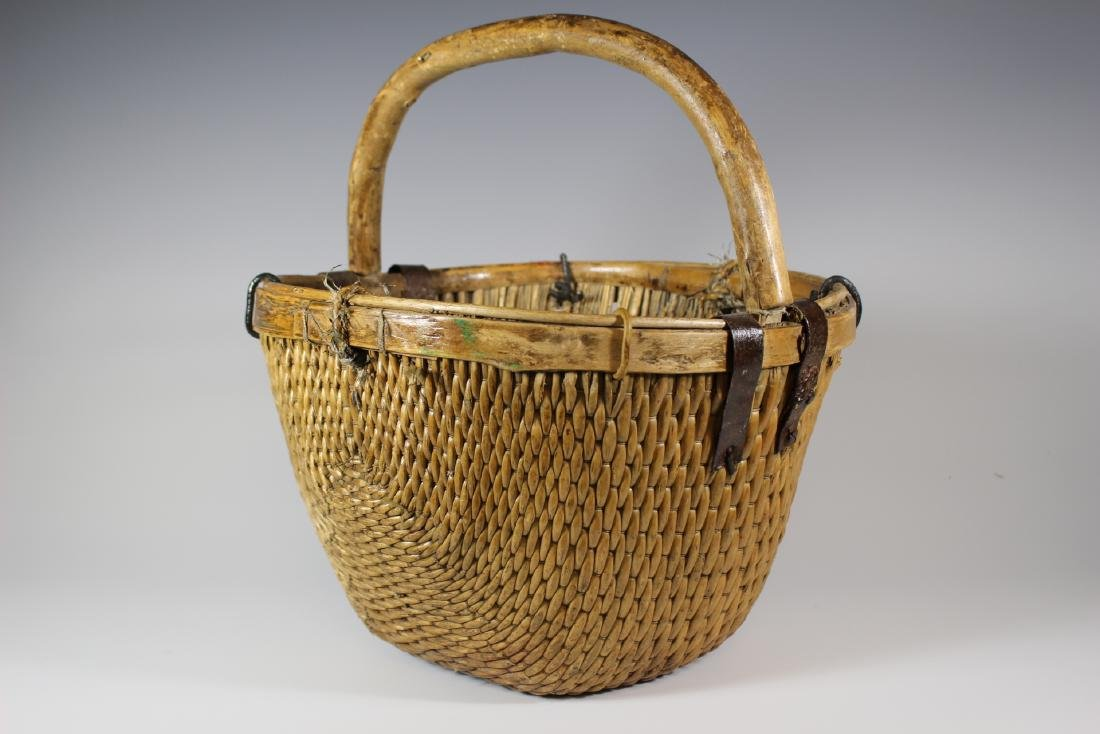 Early Primitive Hand Woven Basket - 2