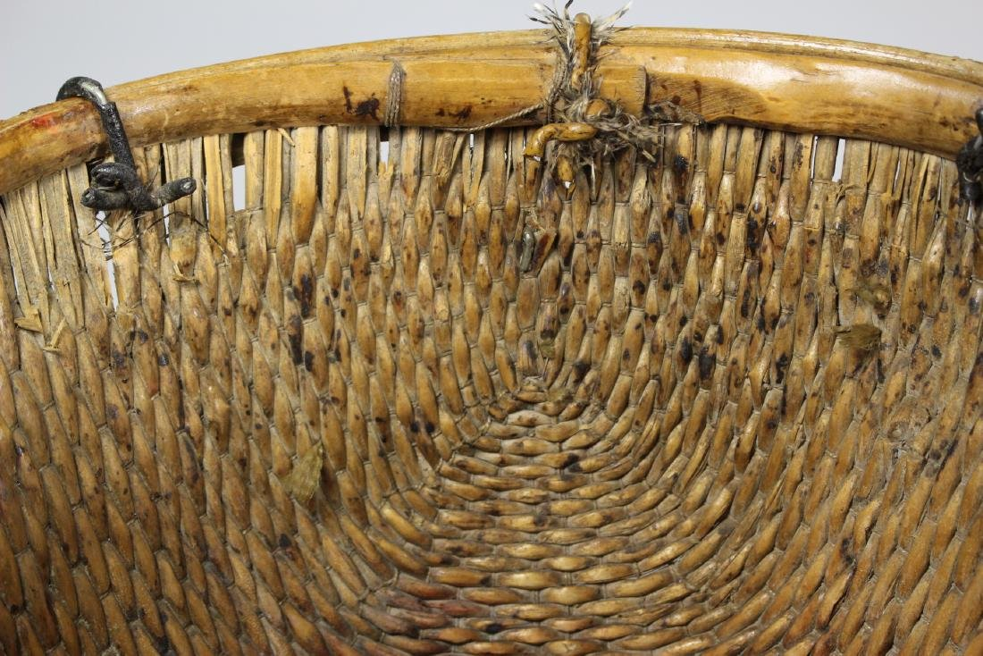 Early Primitive Hand Woven Basket - 4