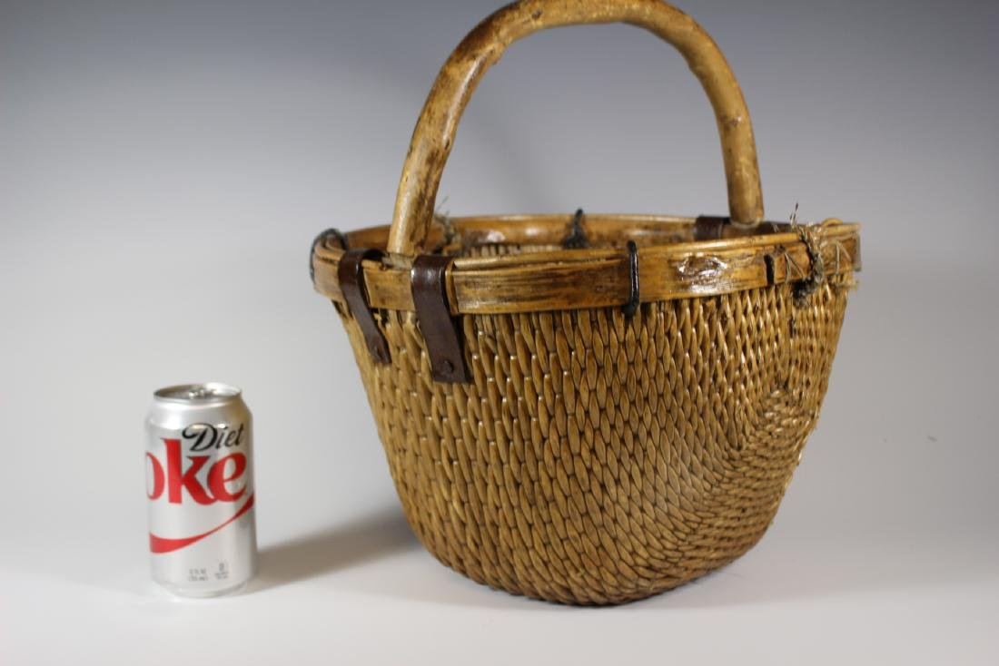 Early Primitive Hand Woven Basket - 7
