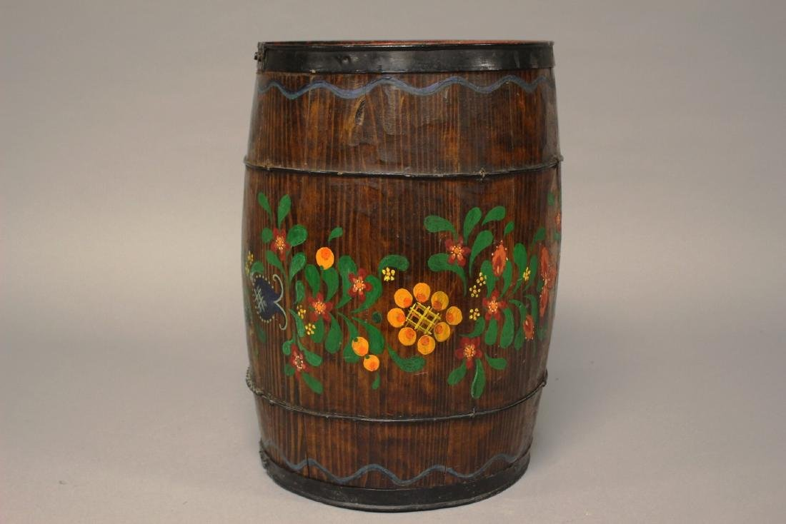 Early Hand Painted Wood Barrel