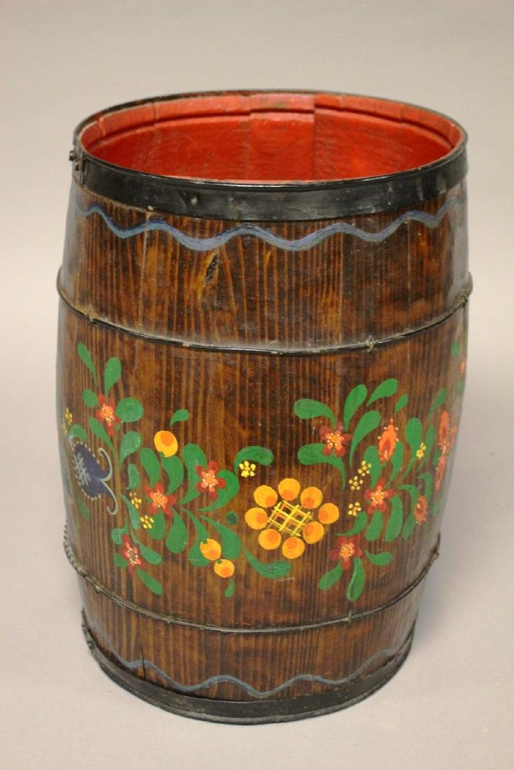 Early Hand Painted Wood Barrel - 2