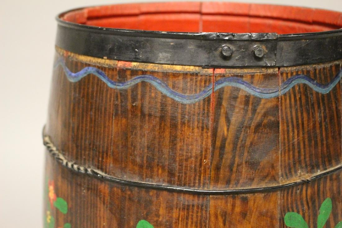 Early Hand Painted Wood Barrel - 3