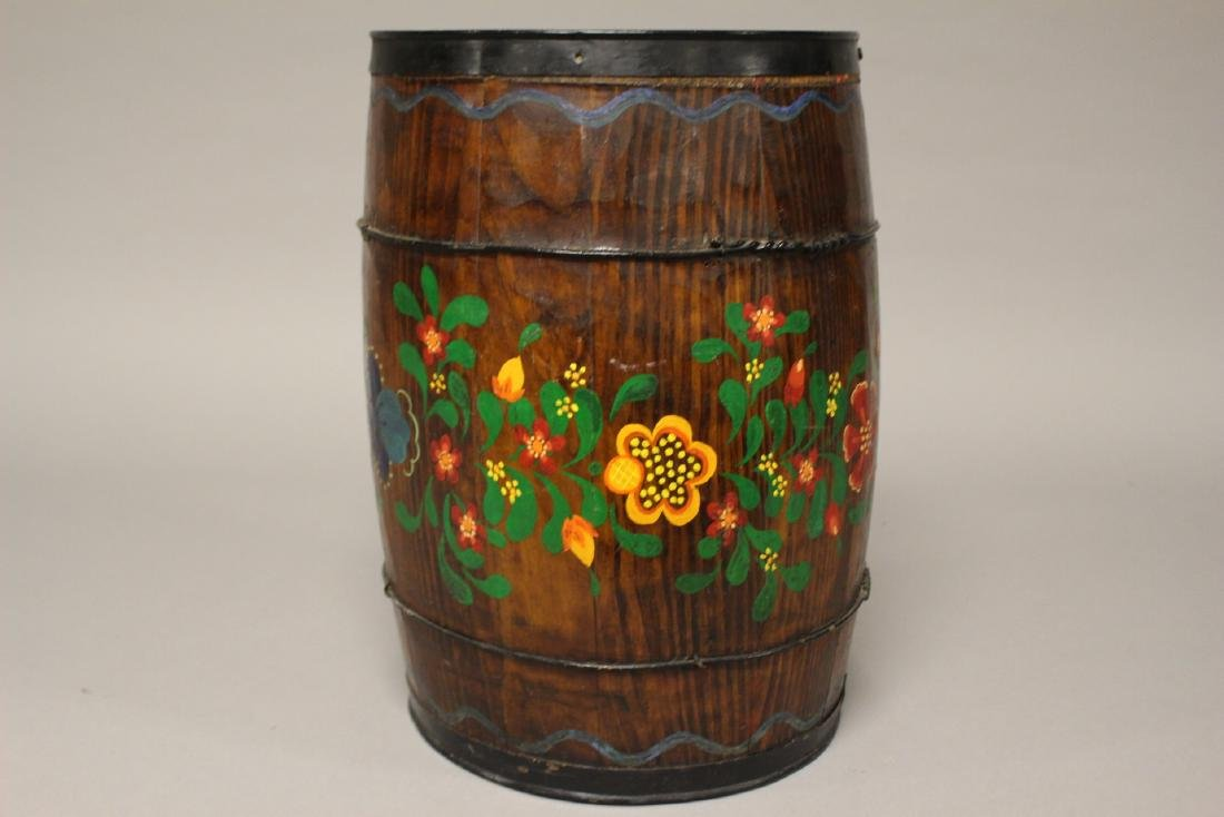 Early Hand Painted Wood Barrel - 4