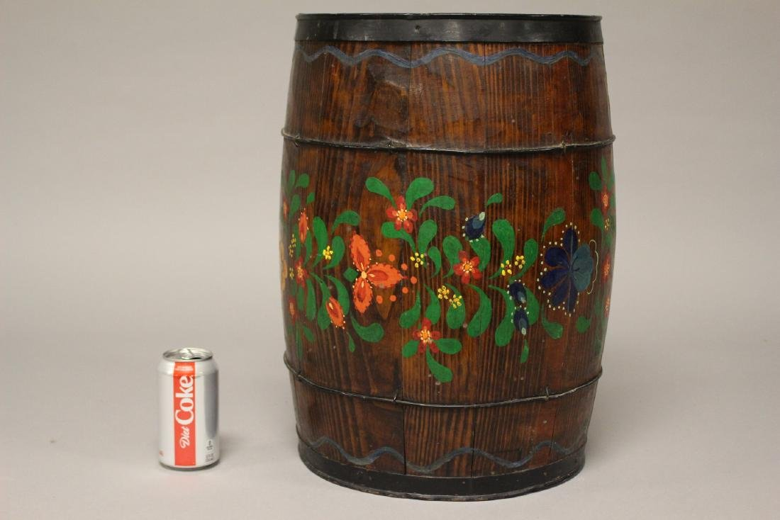 Early Hand Painted Wood Barrel - 5