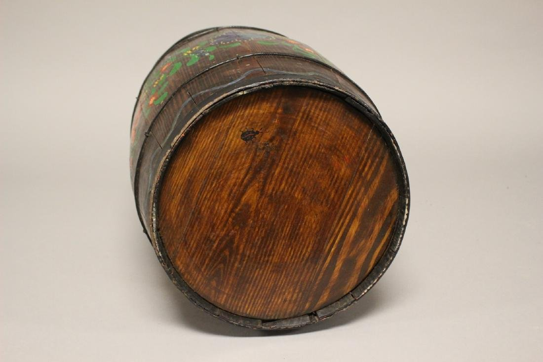Early Hand Painted Wood Barrel - 6