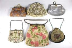 Group of Six Beaded Fabric and Leather Handbags