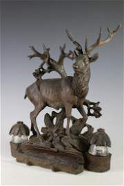 Fine BLACK FOREST Carved Stag Inkwell