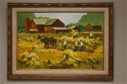 Cleveland Artist John E. Poti Oil on Board of Amish Man