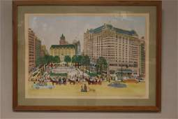 """Rockefeller Center"" serigraph by Vestie E. Davis"