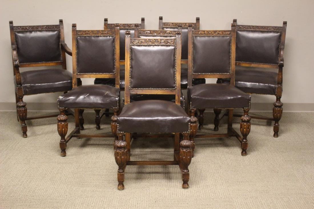 Set Of Eight English Oak Dining Chairs