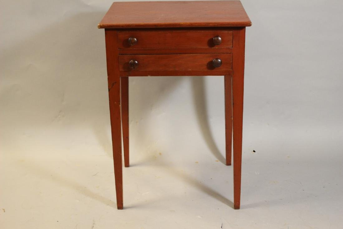 New England Paint Decorated Two Drawer Stand