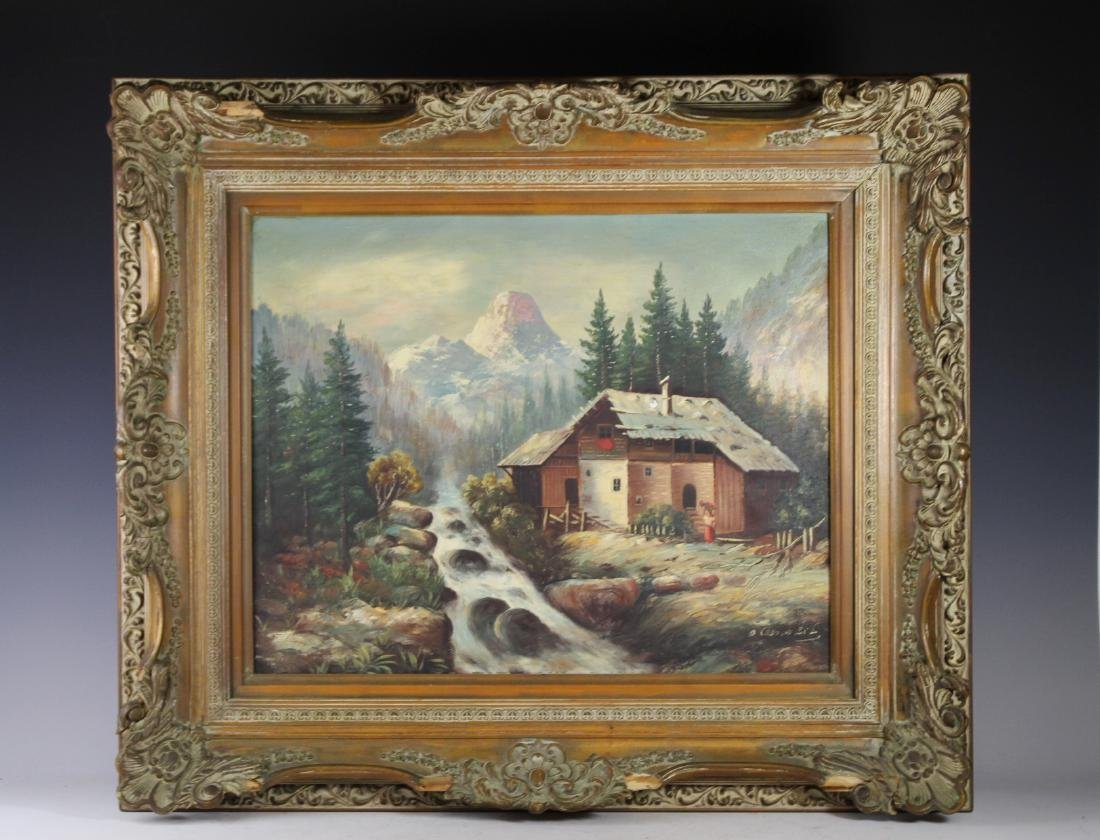 Signed Oil on Canvas Country Landscape