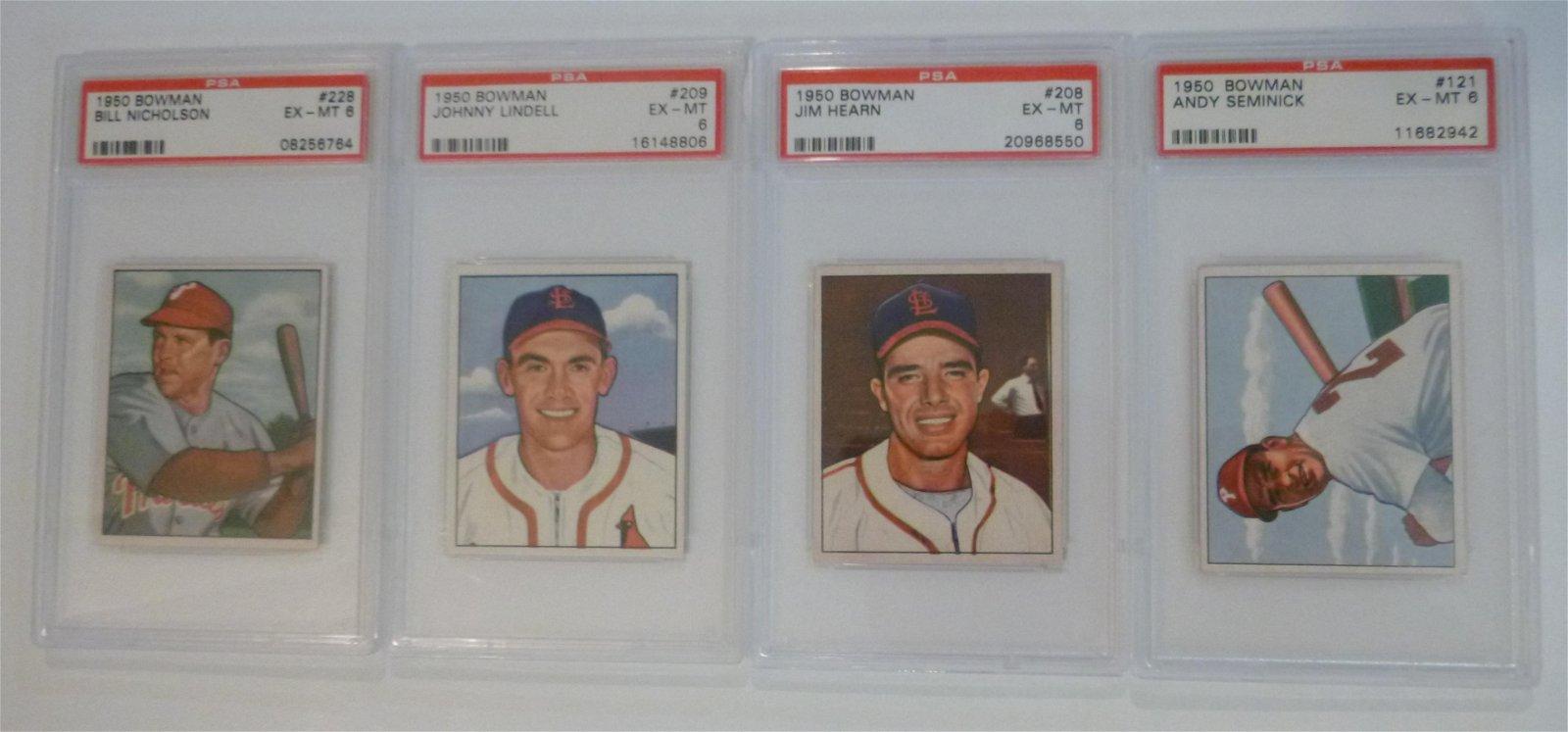 1950 Bowman Baseball PSA 6 Graded Card Lot (4)