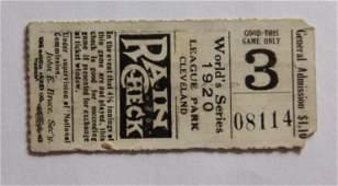 1920 World Series Ticket Stub Cleveland Indians Game 6