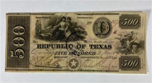 RARE 1840 Republic of Texas $500 Obsolete Note