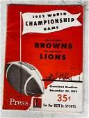 1952 NFL Championship Game Program Lions Browns