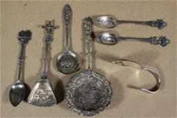 Collection of 7 Silver/Silver Plate Souvenir Spoons