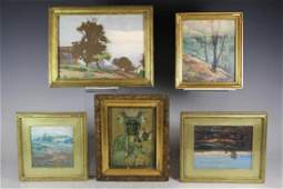 Collection of 5 Framed Paintings Clara Louise Bell