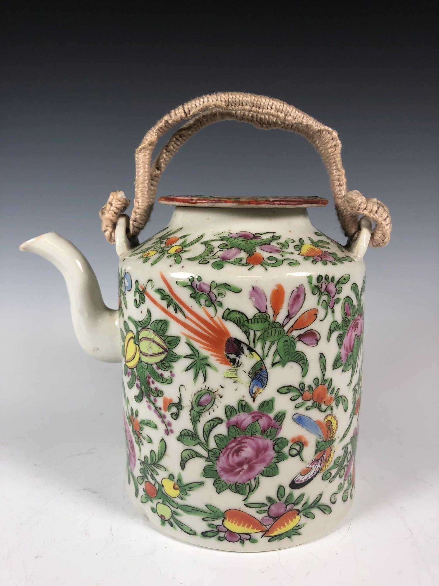 Rose FAMILLE Chinese Porcelain Teapot