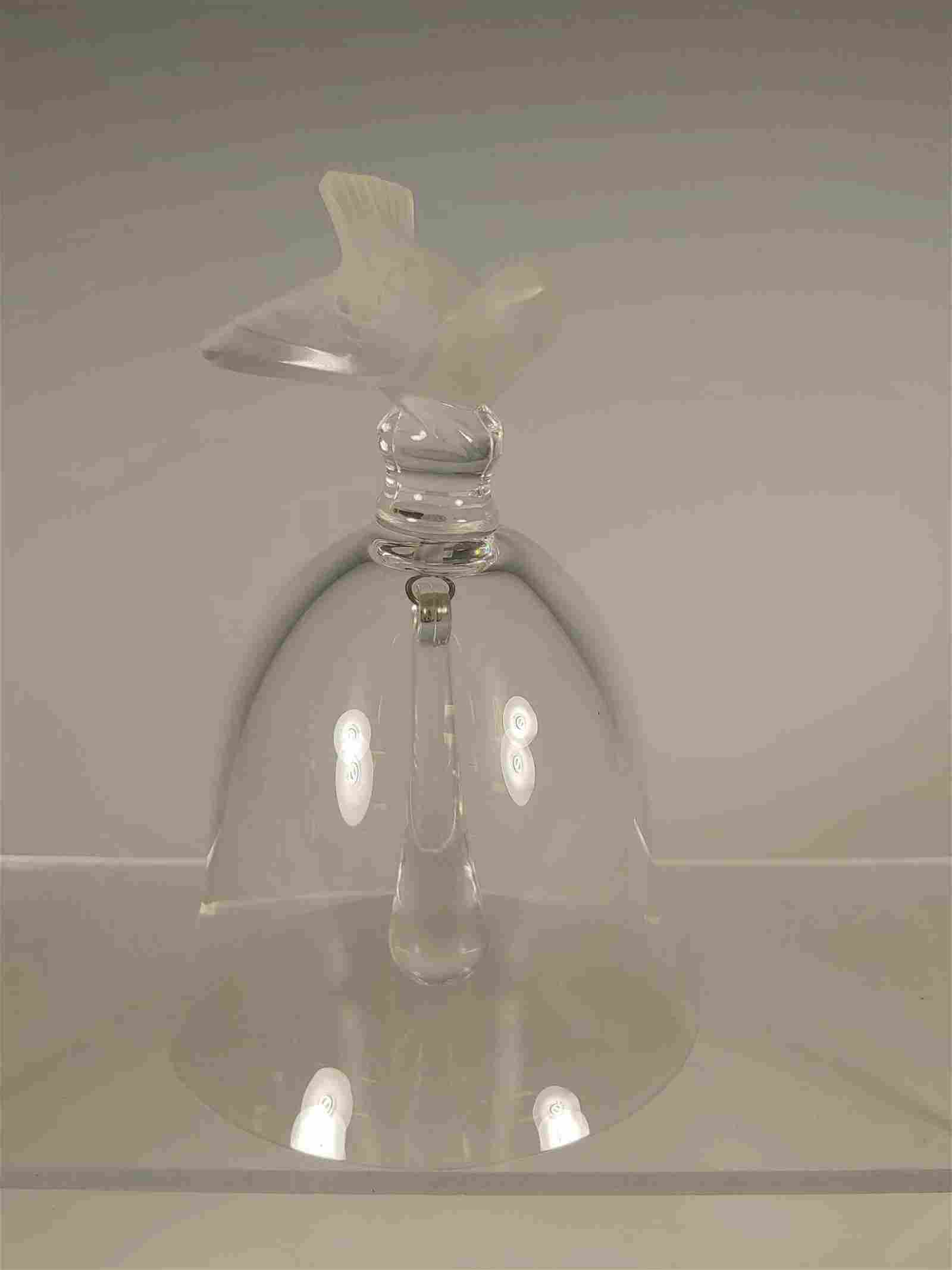 Signed Lalique Crystal Bell with Frosted Sparrow