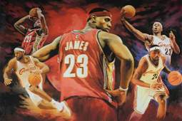 36x24 LeBron James Watercolor Cavs
