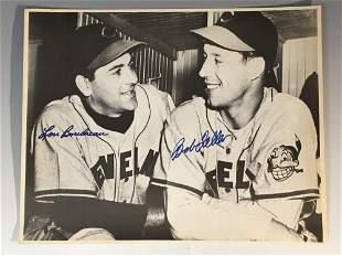 Bob Feller and Lou Boudreau Signed 11x14 BW Photo