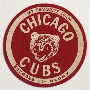 1950's Chicago Cubs Bazooka Felt