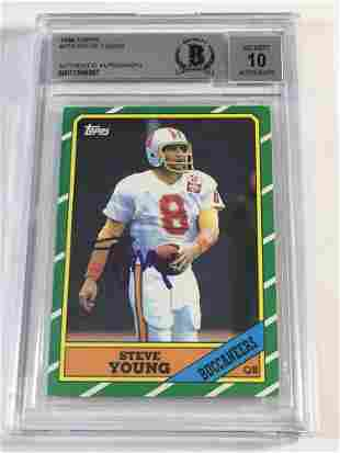 1986 Topps Steve Young Autographed Rookie BGS 10
